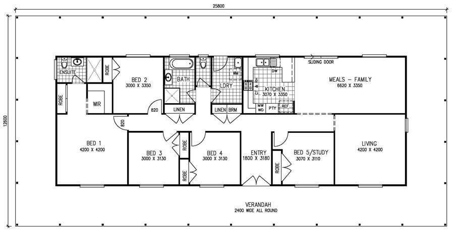 5 bedroom kit home meadow view the owner builders kit for Five bedroom floor plans